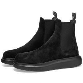 Alexander McQueen Suede Chelsea Wedge Sole Boot (586198WHXK2-1000)