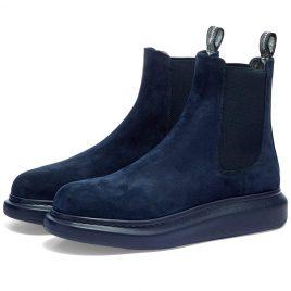 Alexander McQueen Suede Wedge Sole Chelsea Boot (586198WHXK2-4100)
