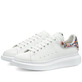 Alexander McQueen Stud Heel Tab Wedge Sole Sneaker (610802WHX9R-9461)
